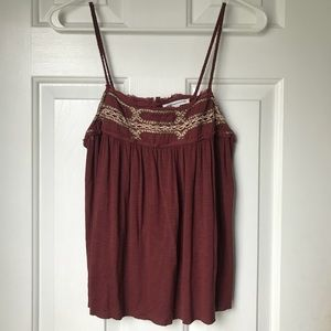AE Burgundy Lace Detailed Tank Top